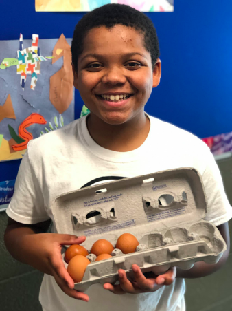 Aidyn selling eggs from Norris Academy