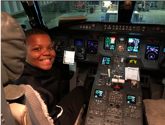 Aidyn Grice in the cockpit