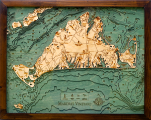 Wood Carved Topographical Map