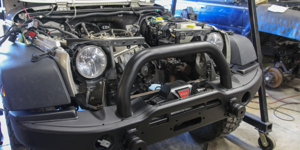 Test fitting the Warn Zeon 10-S and AEV Front bumper