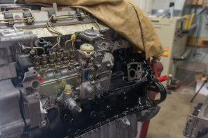Mechanical injection pump installed and timed