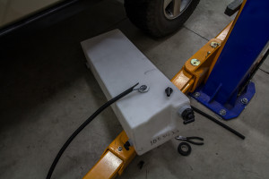 My water tank ready to install with adapters and depth gauge mounted on top