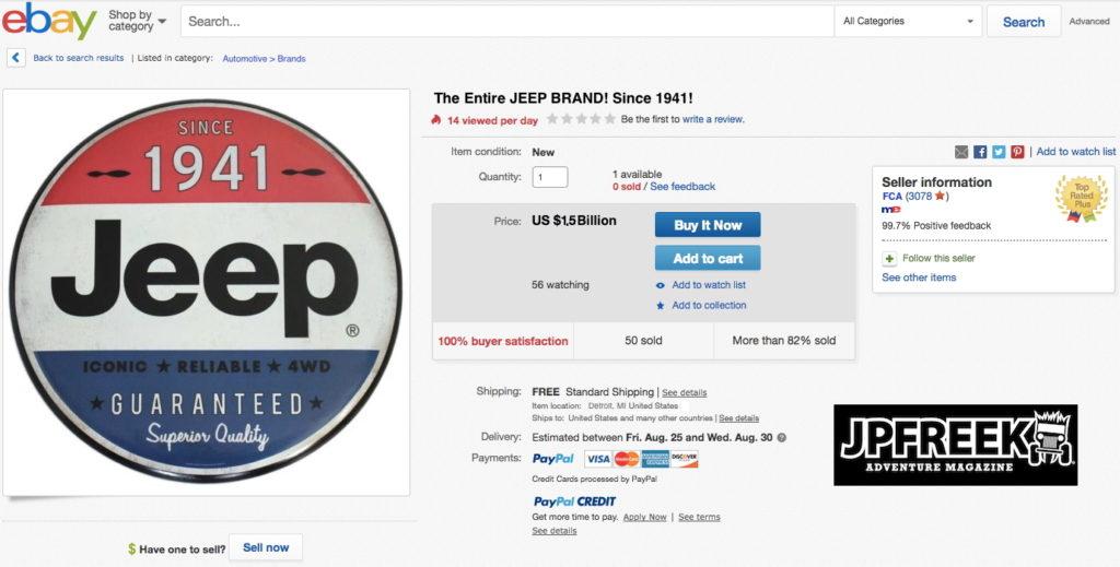 JPFreek Fake Jeep Brand eBay Listing