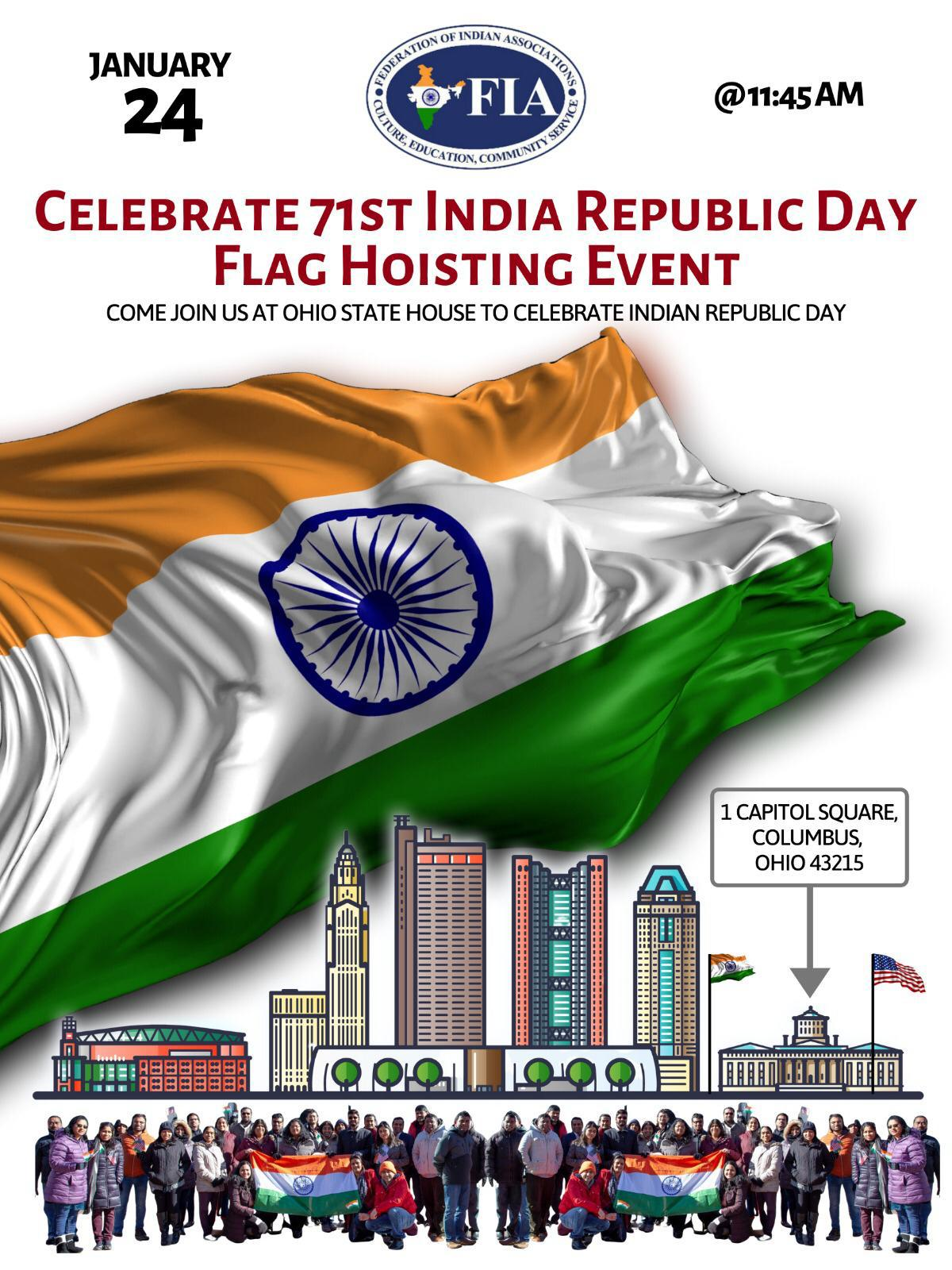 71st India Republic Day Flag Hoisting Event
