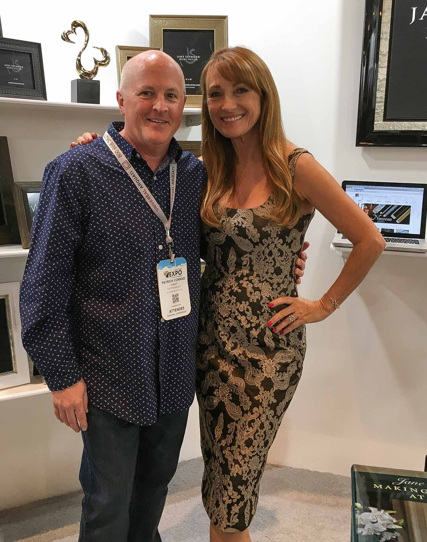 Patrick with Jane Seymour at the West Coast Art and Frame Show.