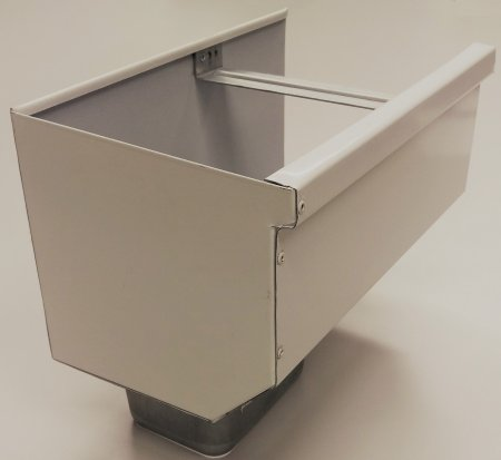 """7"""" Box Gutter with Gutter Strap, Outlet, Matching End Cap"""