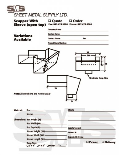Scupper with Sleeve Open Top