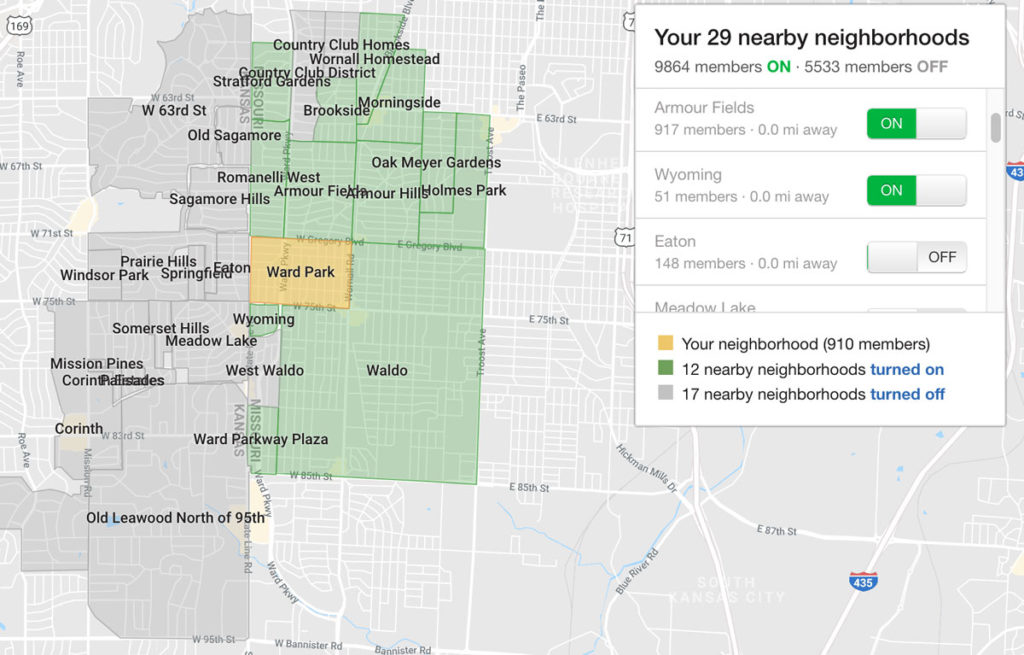 screenshot of Nextdoor neighborhoods map and toggle settings