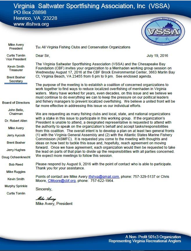 Menhaden Invite Letter