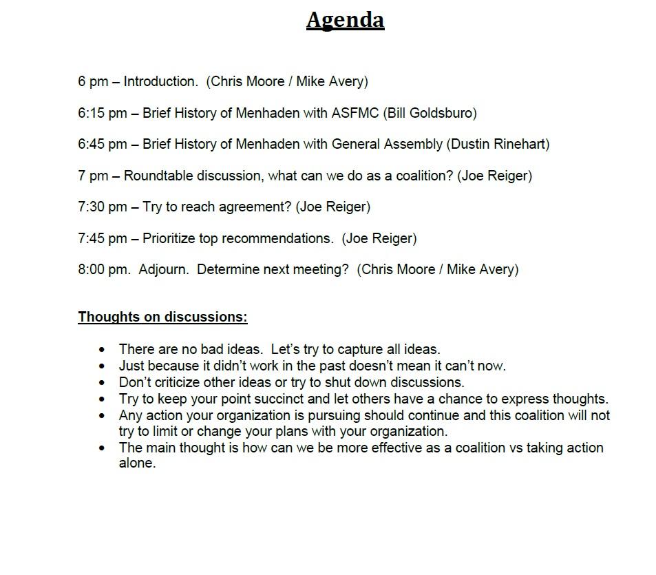 Menhaden Meeting Agenda