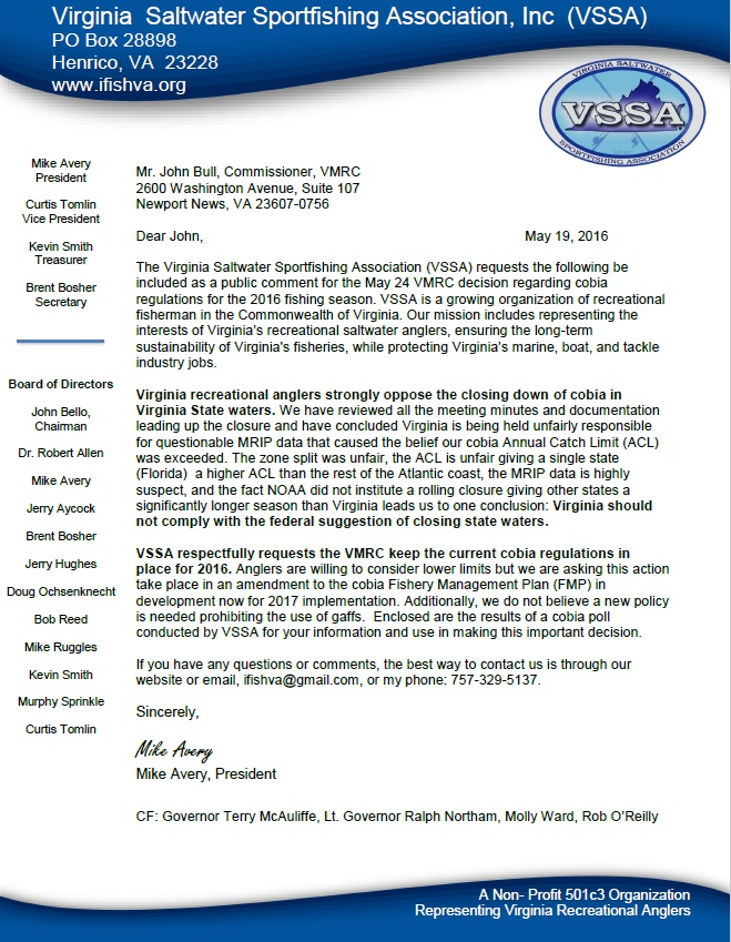 VSSA Cobia Letter Final 19 May 16