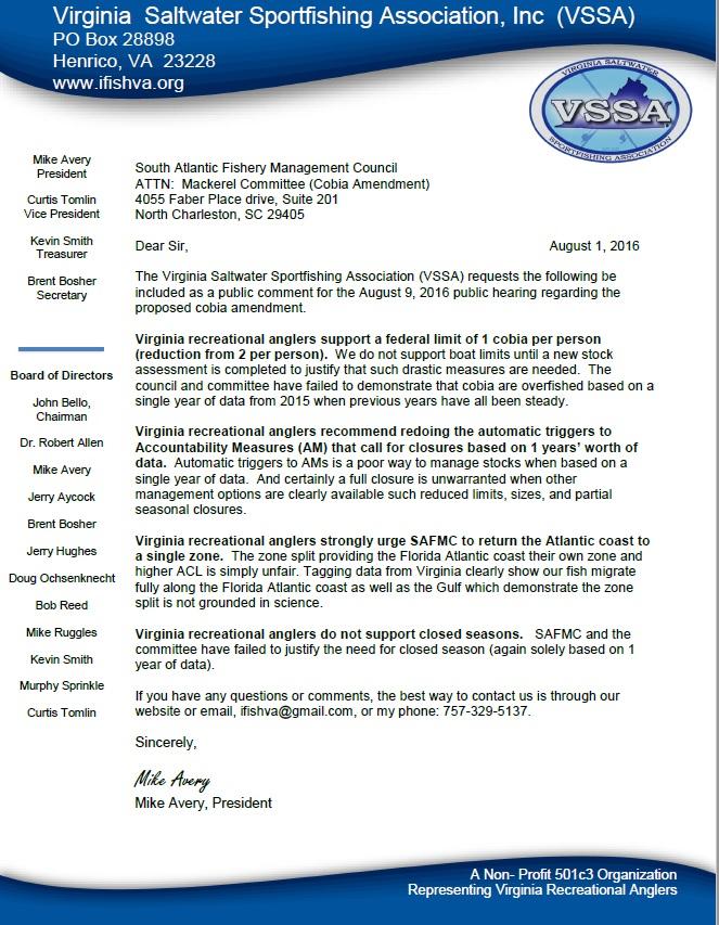 VSSA Cobia Letter SAFMC 1 Aug 16
