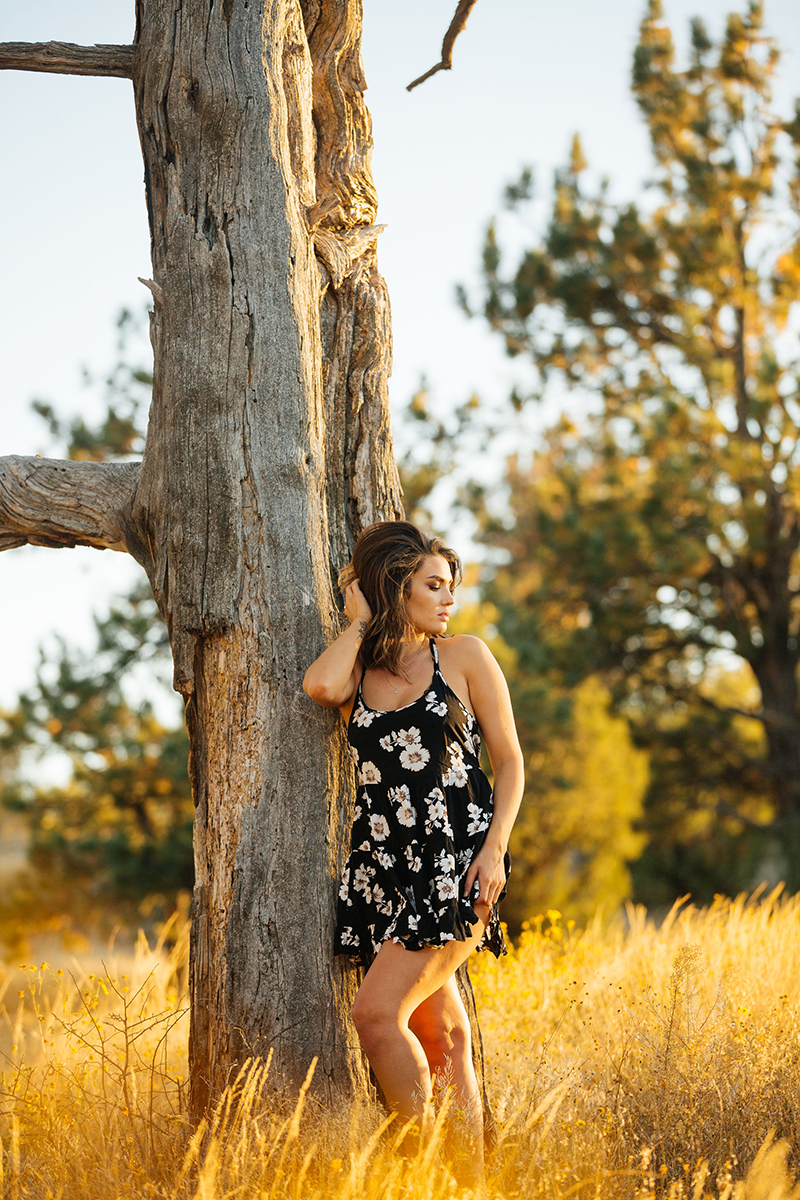 A beautiful young brunette woman poses for a Castlewood Canyon State Park boudoir photography session near Castle Rock, Colorado wearing black floral dress in front of tree in a grass field at sunset