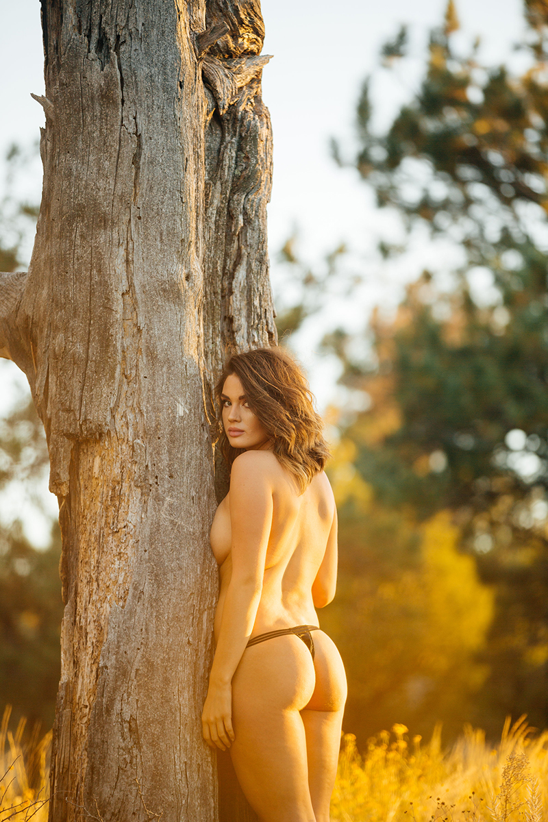 A beautiful young brunette woman poses topless for a Castlewood Canyon State Park boudoir photography session near Castle Rock, Colorado wearing black underwear in front of tree in a grass field at sunset