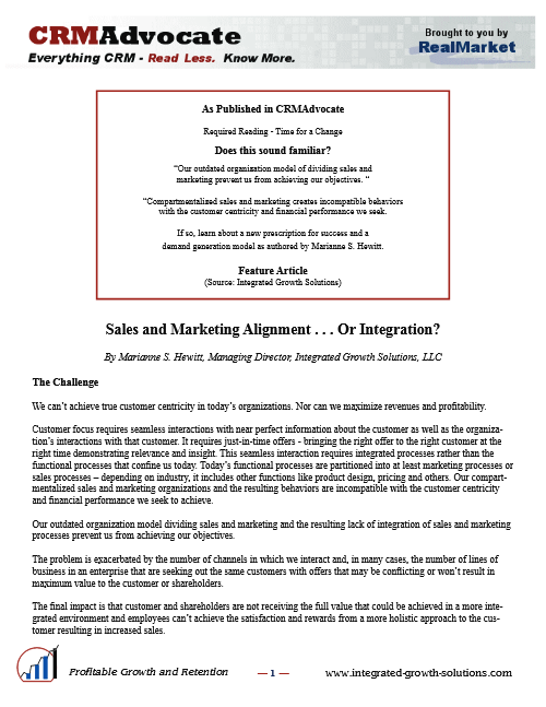 Sales And Marketing Integration Crmadvocate Jan2013 Thumbnail