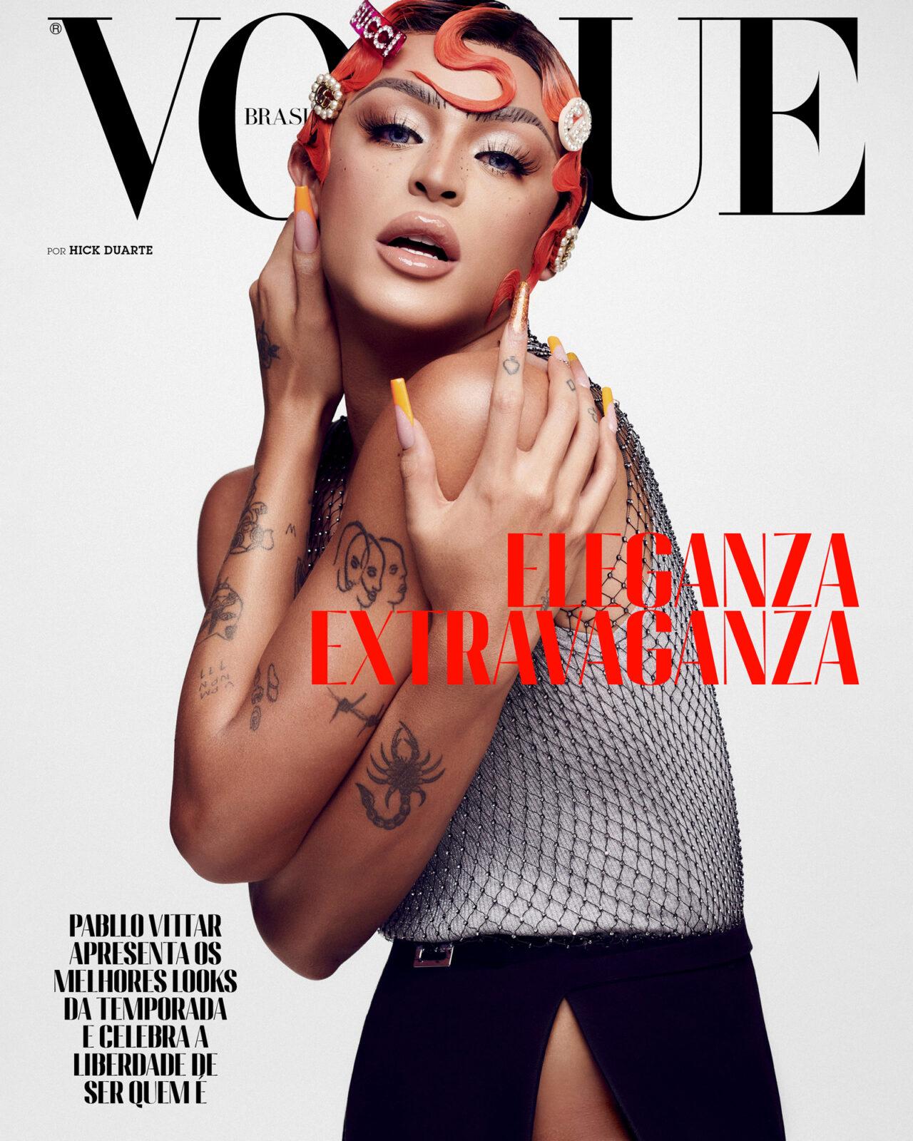 Pabllo Vittar, fotografada por Hick  Duarte, usa top, regata, saia e presilhas, tudo Gucci. (Foto: Vogue Brasil/ Hick Duarte)