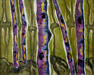 Watercolor and ink, aspen trees, abstract
