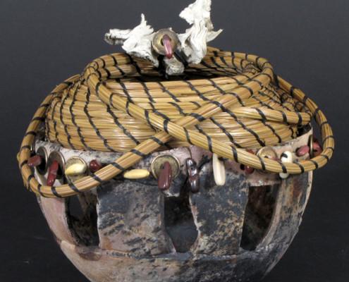 Pit-fired ceramic, pine needle art basket scuplture