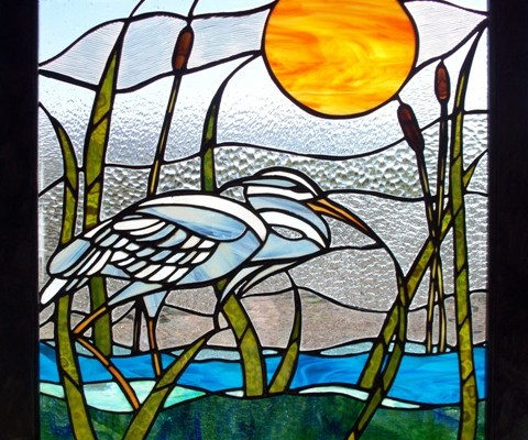 Stained glass, crane, wetlands, sun rising