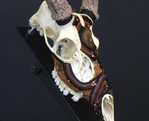 Huichol-inspired beaded deer skull, mule deer, beaded skull
