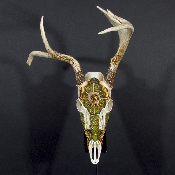 Huichol-inspired beaded whitetail deer skull