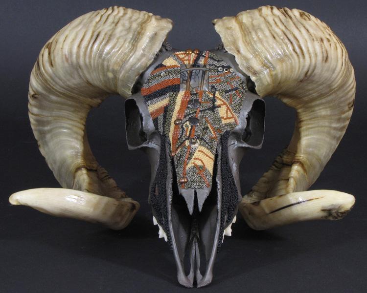 Huichol-inspired beaded ram skull