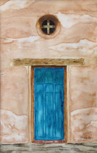 Watercolor, ink, gesso. Mission door, San Juan Capistrano Mission, California