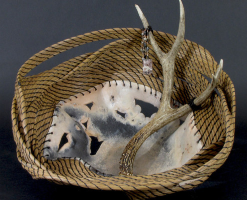 Pit-fired ceramic, pine needle art basket sculpture