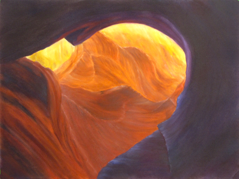 Pastel painting, Antelope Slot Canyon, Arizona