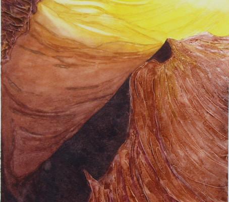 Watercolor painting, Antelope Slot Canyon, Arizona