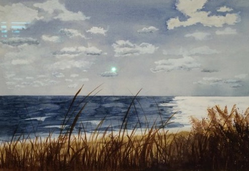 watercolor, seaside landscape, Montauk, NY