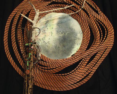 Pit-fired ceramic, pine needle art basket sculpture