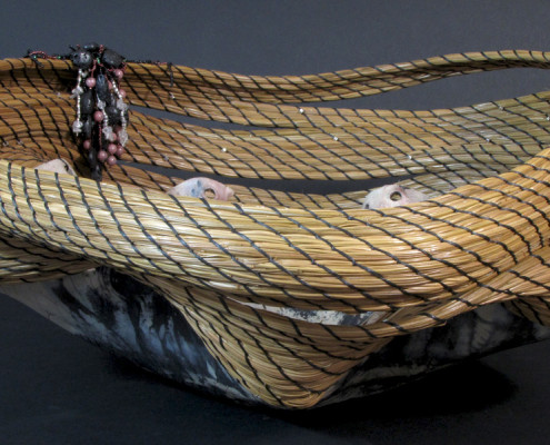 Pit-fired, pine needle art basket sculpture