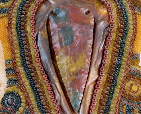 Beaded bison skull, Huichol-inspired beaded skull