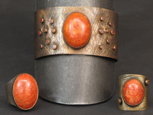 Copper and fossil coral cuff set