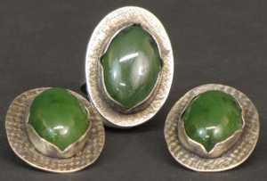 Jade and sterling silver set