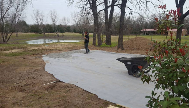 weed-block for flagstone patio sitting area
