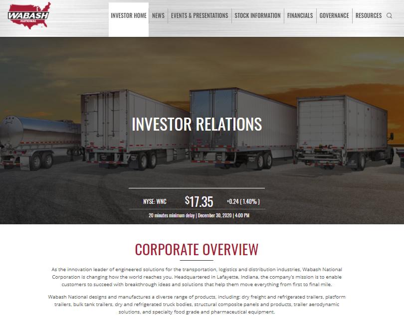 Wabash National Investor Website