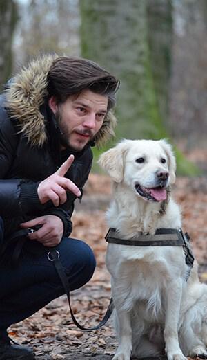 Man-training-dog