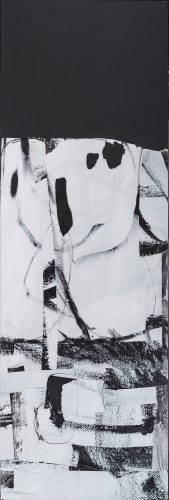"""Lisa Noonis, Abstract #8, mixed media on panel, 36"""" x 12"""""""