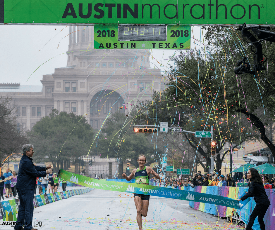 Allison Macsas, 2018 Austin Marathon female champion.
