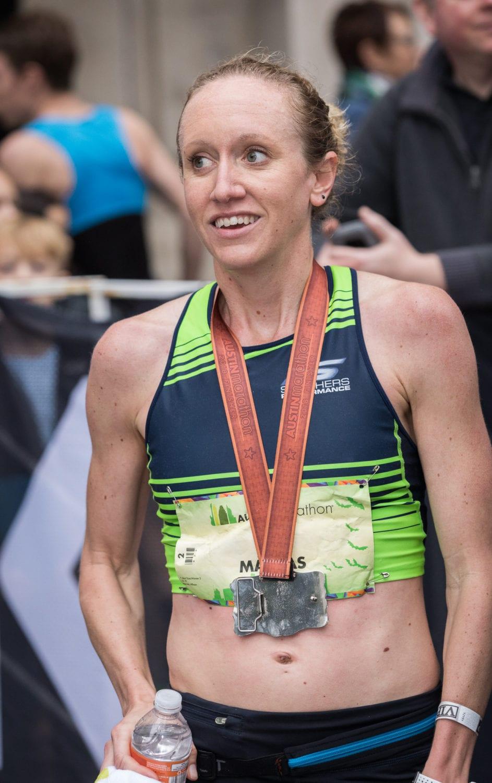 Allison Macsas becomes back-to-back Austin Marathon female champion.