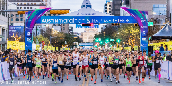 Austin Marathon elite begin the 2019 Austin Marathon.