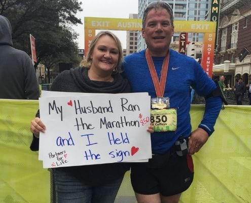 Michael ran the 2018 Austin Marathon after he accepted his self-imposed challenge.