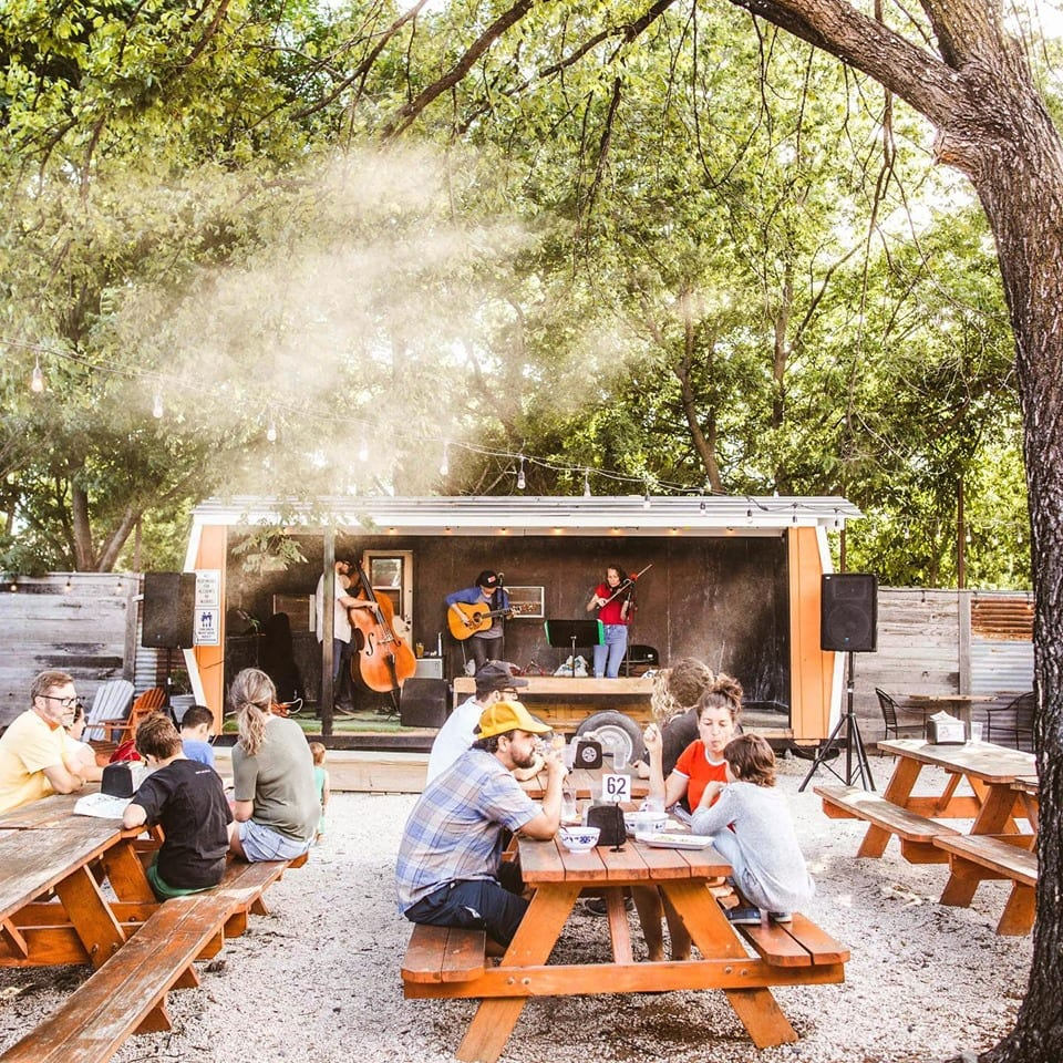 The outdoor seating is perfect for a group of runners at Sour Duck Market, one of our favorite East Austin restaurants.