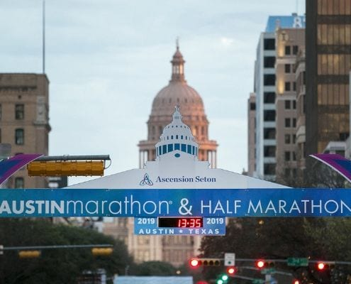 Start line of the 2019 Ascension Seton Austin Marathon. Ascension Seton returns as Austin Marathon title sponsor.