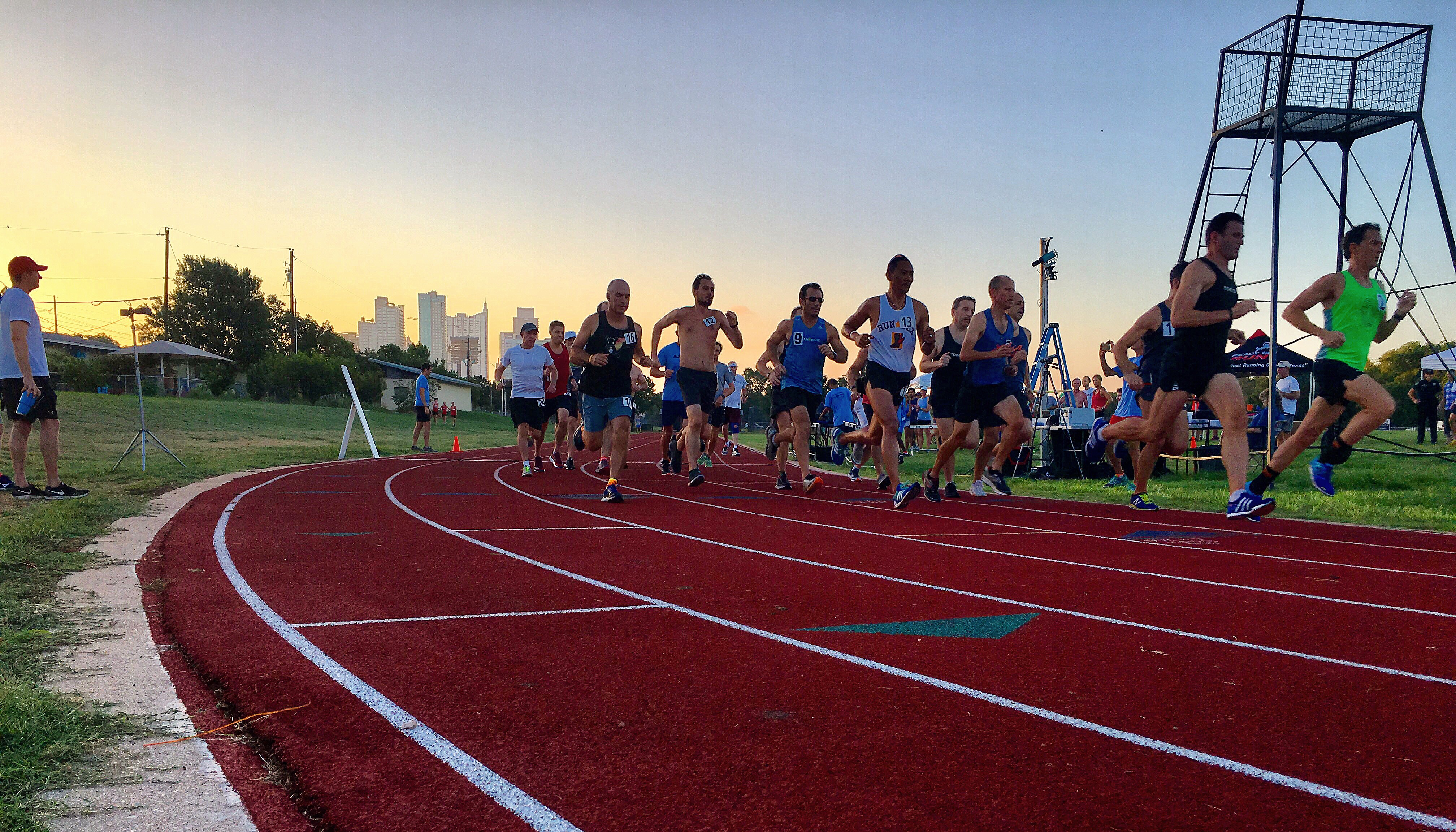 Runners test their speed on the Austin High Track, located near Miles 6-13 of the Austin Marathon course.