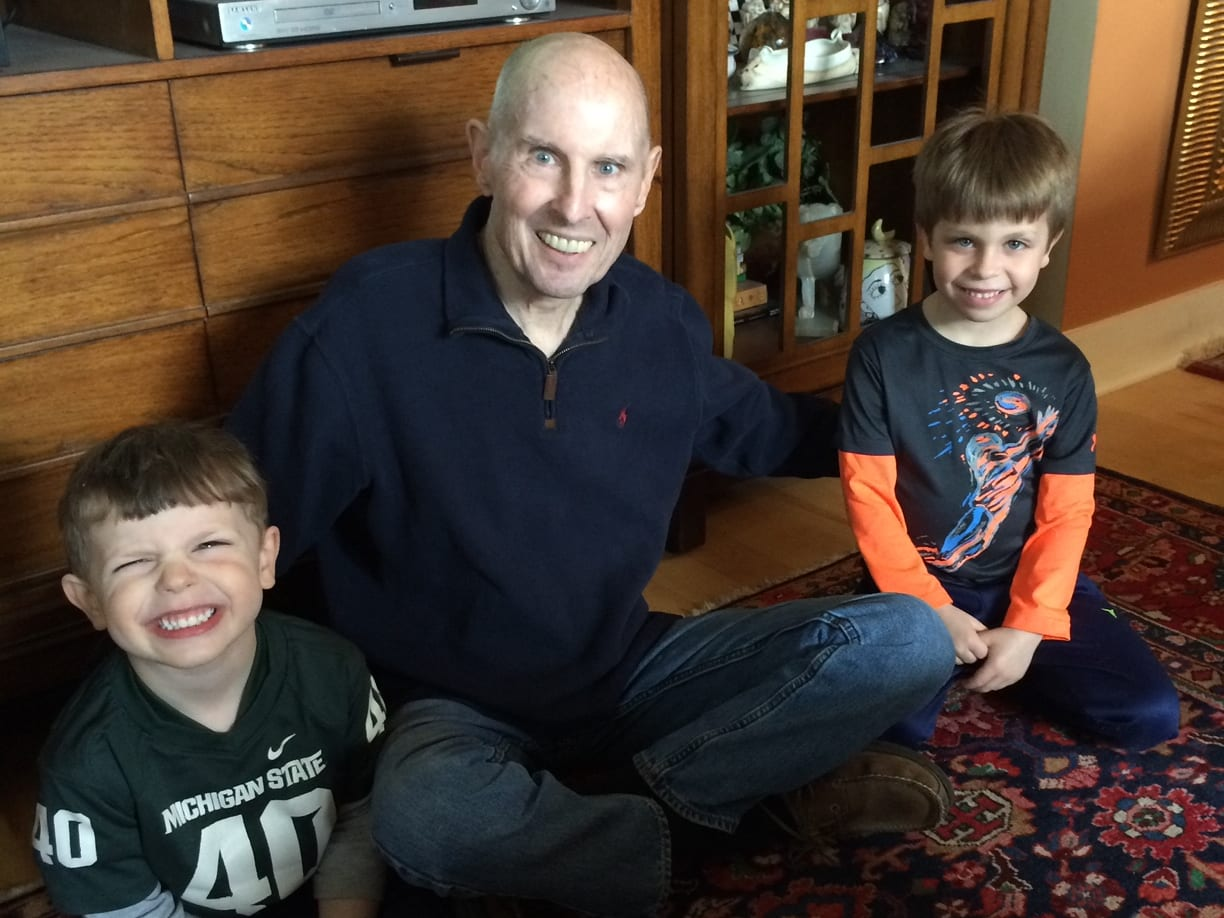 Tom's father, TBird, with his two grandsons before he lost his battle with pancreatic cancer.