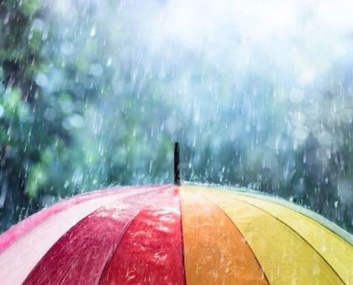 Rain falls on an umbrella.
