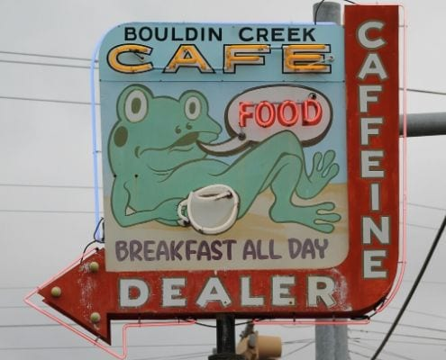 Image of Bouldin Creek Cafe's sign. They're on our list of 6 south Austin coffee shops to visit!